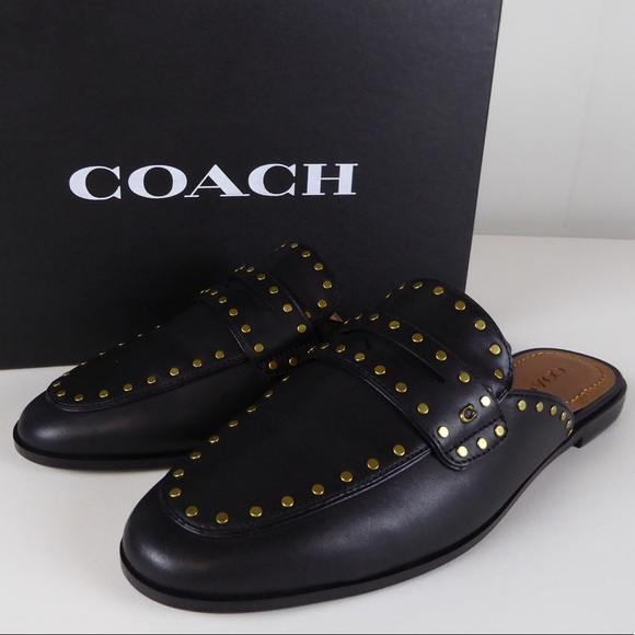Coach Fiona Leather Slide Loafer Flat